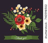 beautiful floral design.vector... | Shutterstock .eps vector #740598502