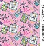 hand drawn pattern retro camera.... | Shutterstock .eps vector #740599462