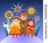children congratulate with... | Shutterstock .eps vector #740600908