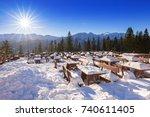 zakopane at tatra mountains in... | Shutterstock . vector #740611405