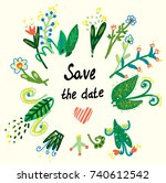 save the date floral card in... | Shutterstock .eps vector #740612542