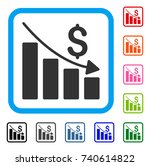 recession icon. flat gray... | Shutterstock .eps vector #740614822