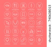 jewelry flat line icons ...   Shutterstock .eps vector #740638015
