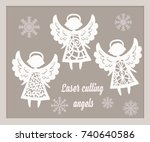 beautiful christmas angels.... | Shutterstock .eps vector #740640586