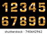 vector golden numbers.set of... | Shutterstock .eps vector #740642962