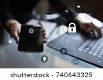 cyber security  data protection.... | Shutterstock . vector #740643325