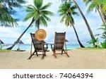 Beautiful Beach With Palm Tree...
