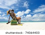 girl on a tropical beach with... | Shutterstock . vector #74064403