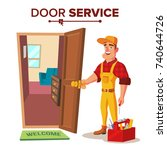 emergency locksmith service... | Shutterstock .eps vector #740644726