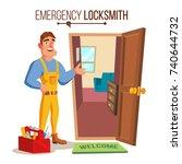 locksmith repairman vector.... | Shutterstock .eps vector #740644732