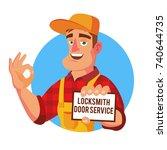 locksmith door service vector.... | Shutterstock .eps vector #740644735