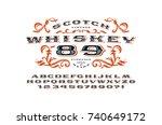 ornate serif extended font in... | Shutterstock .eps vector #740649172