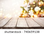 christmas background. wooden... | Shutterstock . vector #740659138