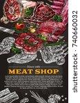 meat shop delicatessen poster... | Shutterstock .eps vector #740660032