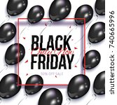 black friday square sale banner ... | Shutterstock .eps vector #740665996