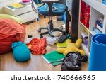 boy messy bedroom with clothes... | Shutterstock . vector #740666965