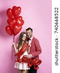 man with her girlfriend... | Shutterstock . vector #740668522