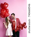 affectionate couple with... | Shutterstock . vector #740668546