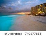 Cancun Forum Beach Sunset In...