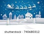 paper santa claus sleigh... | Shutterstock . vector #740680312
