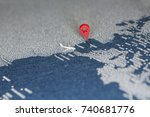 travel painted map with the... | Shutterstock . vector #740681776