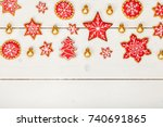 frame made of homemade... | Shutterstock . vector #740691865