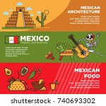 mexico travel tourism famous... | Shutterstock .eps vector #740693302
