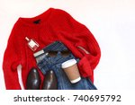 red knit sweater  blue jeans ... | Shutterstock . vector #740695792