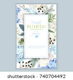 vector floral banner with blue... | Shutterstock .eps vector #740704492