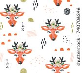 seamless pattern with deers and ... | Shutterstock .eps vector #740706346