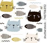 seamless childish pattern with... | Shutterstock .eps vector #740706352
