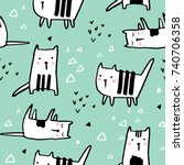 Stock vector childish seamless pattern with hand drawn cats trendy scandinavian vector background perfect for 740706358