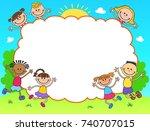 kids diploma certificate... | Shutterstock . vector #740707015