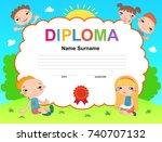 kids diploma certificate... | Shutterstock . vector #740707132