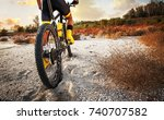 rear view of cyclist and his... | Shutterstock . vector #740707582