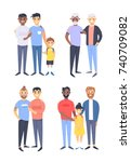 set of different couples and... | Shutterstock .eps vector #740709082