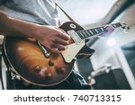 repetition of rock music band.... | Shutterstock . vector #740713315