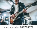 repetition of rock music band.... | Shutterstock . vector #740713372