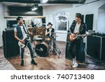 repetition of rock music band.... | Shutterstock . vector #740713408