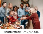 happy senior grandparents... | Shutterstock . vector #740714536