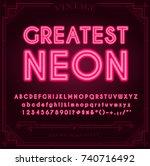 bright neon alphabet letters ... | Shutterstock . vector #740716492