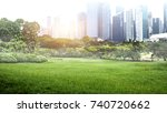 green park in city at sunset ... | Shutterstock . vector #740720662