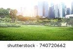 green park in urban city at... | Shutterstock . vector #740720662