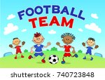football players. cartoon boys... | Shutterstock . vector #740723848