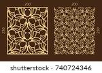 laser cutting set. woodcut... | Shutterstock .eps vector #740724346