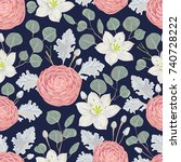 seamless pattern with camellias ...   Shutterstock .eps vector #740728222