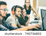group of young people employee... | Shutterstock . vector #740736802
