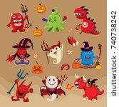 vintage halloween poster design ... | Shutterstock .eps vector #740738242