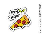 vegan pizza doodle icon | Shutterstock .eps vector #740739286