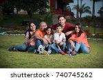 indian extended family sitting... | Shutterstock . vector #740745262